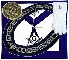 Blue Lodge Chain Collar Master Mason Apron Square Compass GLOVES COIN FREE SHIP