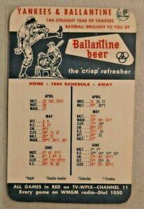 1960 New York Yankees Baseball Schedule Ballantine Beer Ale