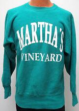 vtg MARTHA'S VINEYARD MINT GREEN Champion Reverse Weave Warmup Large 90s neon L