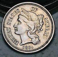 1865 Three Cent Nickel Piece Coin 3C High Grade Choice Civil War US Coin CC6098