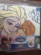 BNIP Official Disney Frozen Yellow Cotton T-shirt Anna & Elsa Age 7-8 years