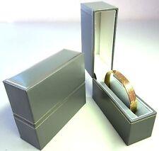 Leatherette Jewellery Bangle Gift Display Box-321B-Grey/Gold BARGAIN PRICE