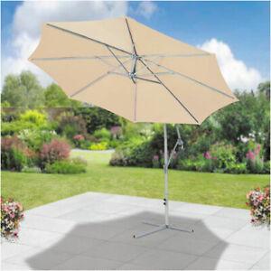 SunTime Ecru 3m Cantilevered Hanging  Banana Parasol Outdoor Garden Umbrella