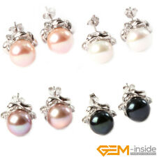 New 1 Pair Elegant Women Crystal White Gold Plated Pearl Ear Stud Earrings Gift