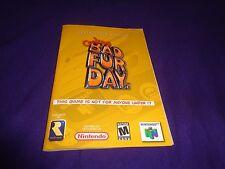 Conker's Bad Fur Day Instruction Booklet Manual + Sales Receipt 2002 Nintendo 64