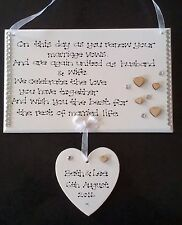 Personalised Handmade Renewing of Wedding Vows Renew Marriage Poem Gift Plaque