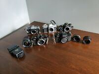 Lot of vintage Cameras Nikon, Fujica, Yashica, Mamiya/Sekor with 3 Lens Untested