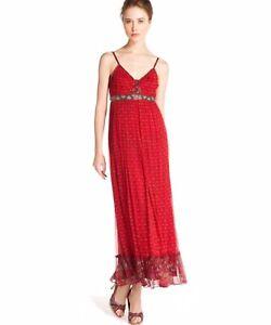 DERHY ROBE LONGUE ROUGE EN MOUSSELINE M NEUF DERHY RED LONG SOULEIADO DRESS M