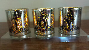 NEW, NIP, Set of 3 Flameless Votive LED Candles, Silver with 'JOY', Christmas