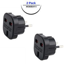 MOBIBAY 2 x UK to EU Europe Travel Power Plug Adapter Type C for Most European