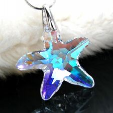 925 Sterling Silver starfish Charm Star Pendant  Necklace chain Austrian Crystal