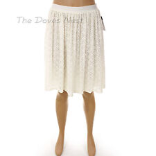 CHAPS by Ralph Lauren Women's LARGE Crochet FLORAL LACE Overlay WHITE SKIRT