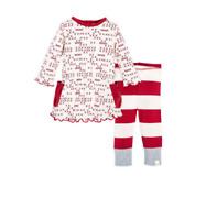 NEW Burts Bees Baby Girls Cross Stitched Organic Dress/Legging Set 12M/18M/24M