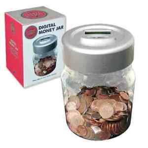 Digital Money Jar - COUNTS CHANGE Battery Powered with LED Screen Global Gizmoss