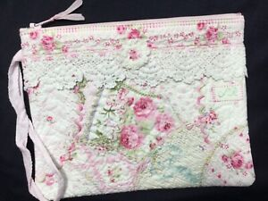 Antique French Pink Rose Yuwas n vintage laces HM zip pouch Heavily stitched