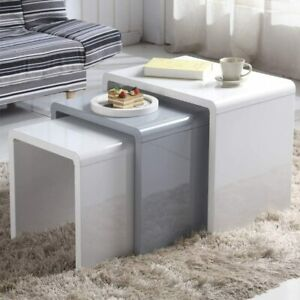 Modern High Gloss Nest of 3 tables Coffee Table Set Living Room Side Table