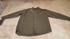 Mossy Oak Button Up Long Sleeve 2X RIDGELINE Olive Green Camo Shirt 2 Pocket