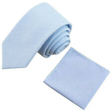 Neuf Bleu Clair Coton Cravate Fine & Poche Carré Set Super Reviews. UK