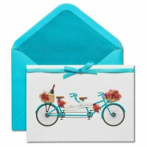 Papyrus Wedding Card - Tandem Bike Bicyle Just Married Congratulations Flowers
