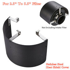 Universal Carbon Fiber Style Air Intake Filter Stainless Steel Heat Shield Cover