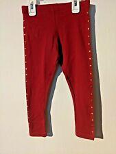 Girls Kids Teens Studded Leggings Children's Cotton Stretch Full Length RED
