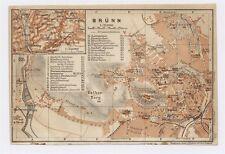 1911 ANTIQUE MAP OF BRNO / BRUNN BRUENN / CZECH REPUBLIC BOHEMIA