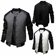 Mens Baseball Varsity Letterman College Jacket PU Leather Bomber Coat Outwear