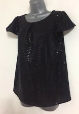 NEW EX DP Black Sparkly Sequin Occasion Party Short Sleeve Blouse Top Size 8-18