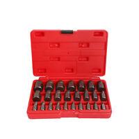 Multi-Spline Screw Extractor Set Hex Head Bit Socket Wrench Bolt Remover 25Pcs