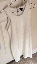 Ladies Topshop White Waffle Textured V Neck Bodycon Mini Dress Zip Back Party 16