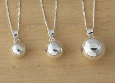 925 Sterling Silver Plain Ball Pendant Charm Necklace Jewellery