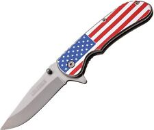 Tac-Force TF-902SF Satin Plain Blade Assisted American Flag Handle Folding Knife