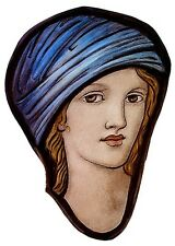 Female face stained glass fragment, kilnfired, glass painting, young girl, face