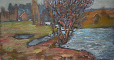 Russian tempera cardboard Impressionism Painting Landscape Demidov Aleksey а-1