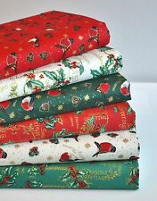 CHRISTMAS ROBINS HOLLY FABRIC REMNANTS 6 PCE BUNDLE 100% COTTON RED GREEN CREAM