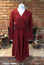 Vtg 90s Mod Retro Plunging V Neck Black / Red Houndstooth Secretary Dress 12 L