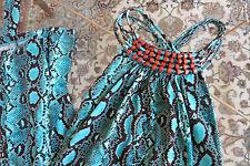 Michael Michael Kors Blue Snake Print Jersey Built In Bra Tank Dress Size PM