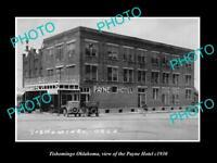 OLD LARGE HISTORIC PHOTO OF TISHOMINGO OKLAHOMA, VIEW OF THE PAYNE HOTEL c1930