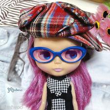 "Mimi Collection Fashion 12"" Blythe Doll Plastic Blue Frame Glasses Purple Lens"