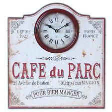 """PENDULE HORLOGE MURALE """"CAFE DU PARC"""" EN BOIS METAL BAR PUBLICITAIRE DECO RETRO"""