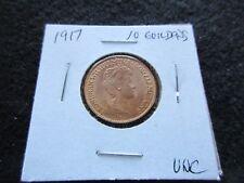 1917 10 GULDEN GOLD COIN, NETHERLANDS, WILHELMINA,  UNGRADED        #DAY-02769