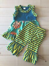 Girls Floral & Striped Ruffled Top + Cropped Ruffle Pants Set, Adorable! NEW 4T