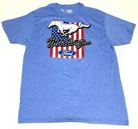 Mens Ford Mustang T-Shirt American Flag Heather Blue Size S M L XL XXL Soft