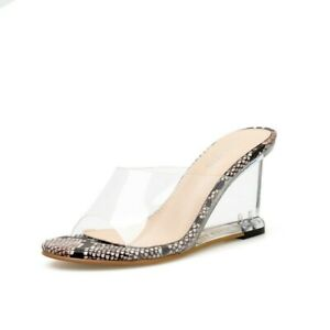 Womens Leather Open Toe Clear Transparent Wedge Heels Sandals Slides Shoes