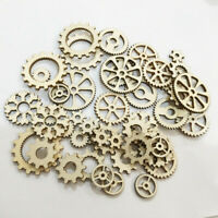 50x Wooden Gears Cardmaking Hanging Tag Ornaments Embellishment Scrapbook Craft