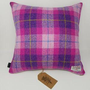 Pink Check HARRIS TWEED Tartan wool handmade Cushion Cover with contrast back