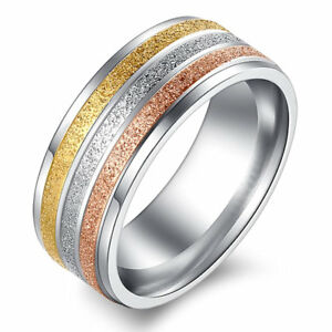 Stainless Steel Sand Blasted 8mm Tri Color Gold Plated Wedding Ring