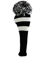 New Ray Cook Pom Pom Knit Driver Golf Club Head Cover Black & White Vintage NWT