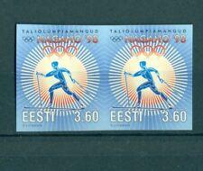 ESTONIA ERROR IMPERFORATED PAIR 3.60 WINTER OLYMPIC GAMES NAGANO JAPAN 1998