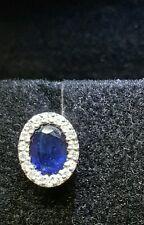 Collier girocollo donna  oro bianco 18 kt con diamanti e  zaffiro naturale